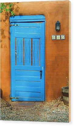 Blue Door In Santa Fe Wood Print