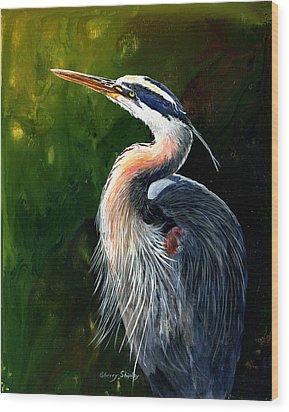 Blue Heron  Wood Print by Sherry Shipley