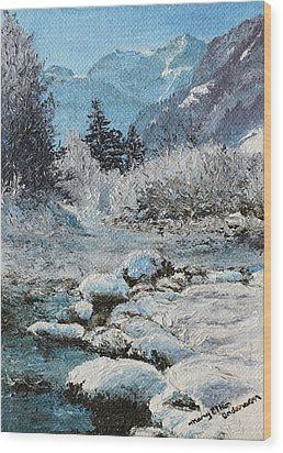 Wood Print featuring the painting Blue Winter by Mary Ellen Anderson
