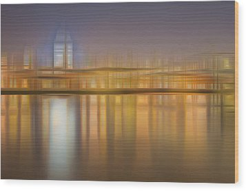 Blurred Abstract City Skyline Colorful Background Wood Print by Matthew Gibson