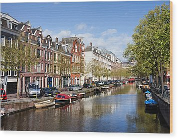 Boats On Amsterdam Canal Wood Print by Artur Bogacki