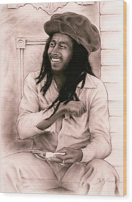 Bob Marley Wood Print by Guillaume Bruno