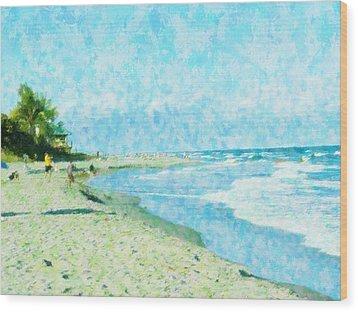 Boca Beach Play Wood Print by Florene Welebny