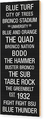 Boise State College Town Wall Art Wood Print by Replay Photos