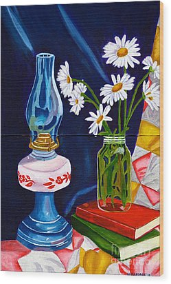 Wood Print featuring the painting 2 Books And A Lamp by Laura Forde