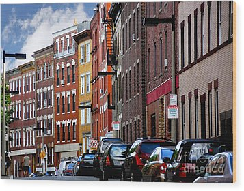 Boston Street Wood Print by Elena Elisseeva