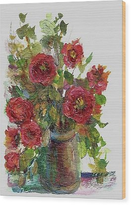 Bouquet Of Poppies Wood Print by Mary Wolf