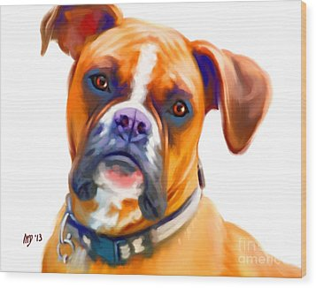 Boxer Dog Art Wood Print by Iain McDonald