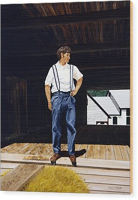 Wood Print featuring the painting Boy In The Barn by Ron Haist