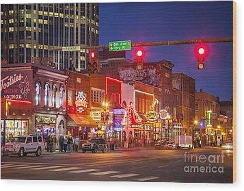 Broadway Street Nashville Wood Print