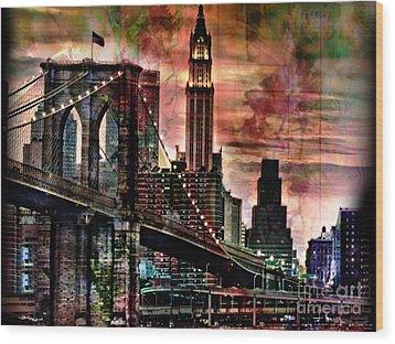 Brooklyn Bridge Wood Print by Christine Mayfield