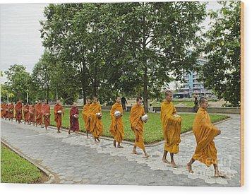 Buddhist Monks In Battambang Cambodia Wood Print