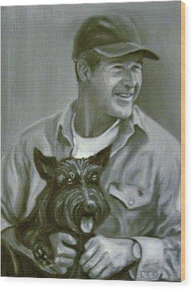 Bush And Barney Wood Print