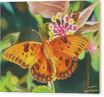 Wood Print featuring the painting Butterfly And Lantana by Phyllis Beiser