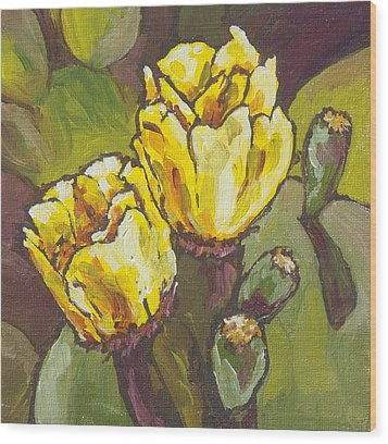 Cactus Blooms Wood Print by Sandy Tracey