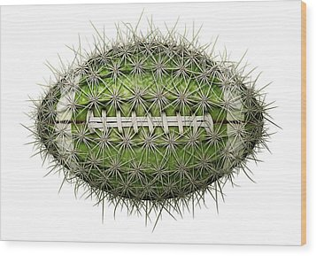 Cactus Football Wood Print by James Larkin