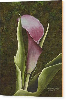 Calla Lily Wood Print by Mary Ann King