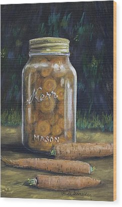 Wood Print featuring the painting Canned Carrots by Claude Schneider