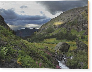Wood Print featuring the photograph Cascade In Lower Ice Lake Basin by Alan Vance Ley