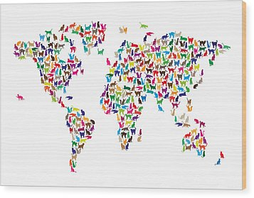 Cats Map Of The World Map Wood Print by Michael Tompsett