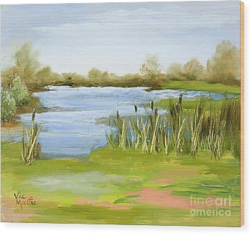Wood Print featuring the painting Cattails At Forest Park by Vic  Mastis