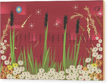 Wood Print featuring the digital art Cattails by Kim Prowse