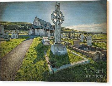 Celtic Cross Wood Print by Adrian Evans