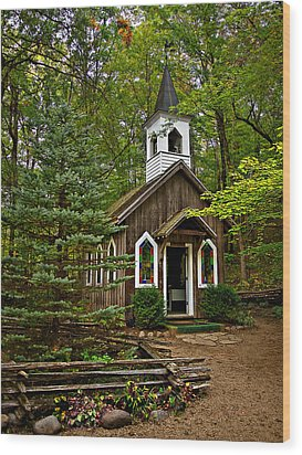 Chapel In The Woods Wood Print by Judy  Johnson
