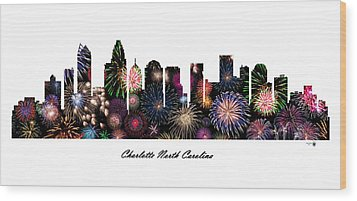 Charlotte North Carolina Fireworks Skyline Wood Print