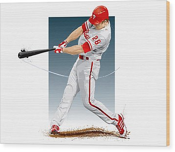 Wood Print featuring the digital art Chase Utley by Scott Weigner