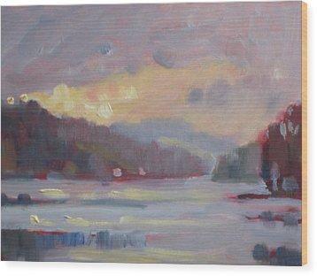 Cheshire Lake Wood Print by Len Stomski