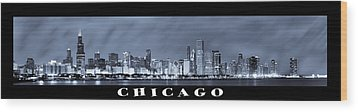 Chicago Skyline At Night Wood Print