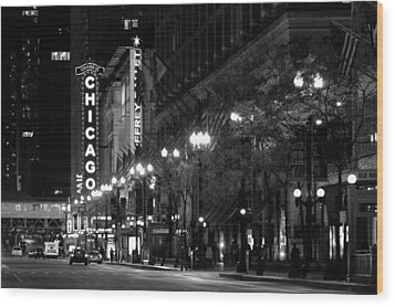 Chicago Theatre At Night Wood Print by Christine Till