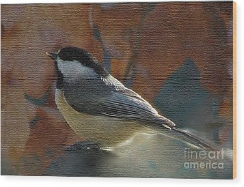 Wood Print featuring the photograph Chickadee In Autumn by Janette Boyd