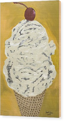 Wood Print featuring the painting Swirly by Kurt Olson