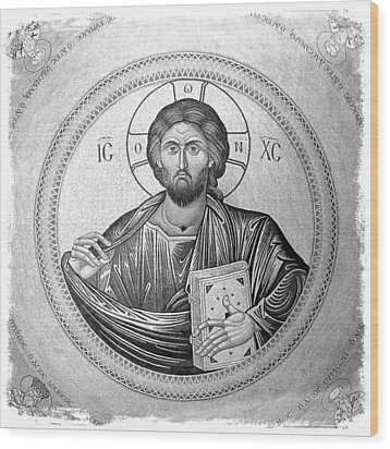 Christ Pantocrator In Black And White -- Church Of The Holy Sepulchre Wood Print by Stephen Stookey