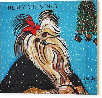 Wood Print featuring the painting Christmas Card by Nora Shepley