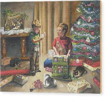 Wood Print featuring the painting Christmas Time by Lori Brackett