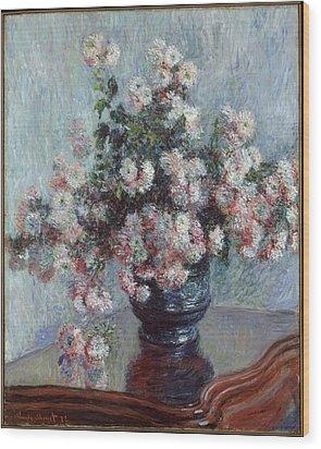 Chrysanthemums Wood Print by Claude Monet