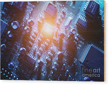 Circuit Board Abstract Wood Print by Konstantin Sutyagin