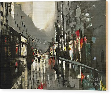 Cityscape Oil Painting Wood Print by Maja Sokolowska