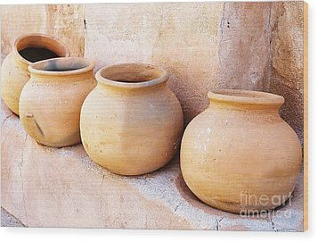 Clay Pots Wood Print