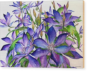 Clematis Climbing Vine Wood Print by Janet Immordino