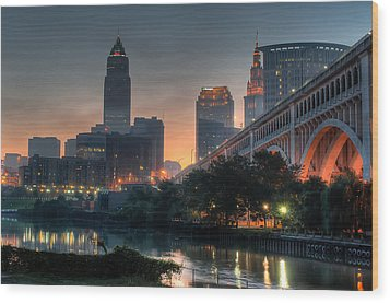 Cleveland Skyline At Dawn Wood Print by At Lands End Photography