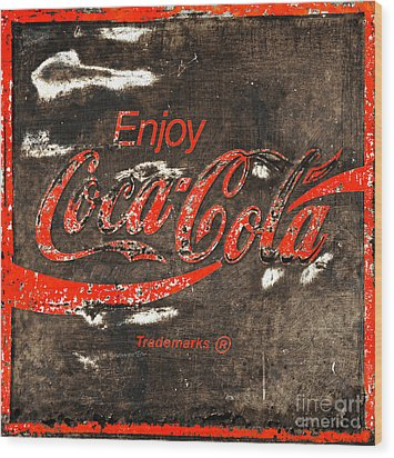 Coca Cola Sign Wood Print by John Stephens