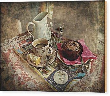 Coffee Time Wood Print by Barbara Orenya