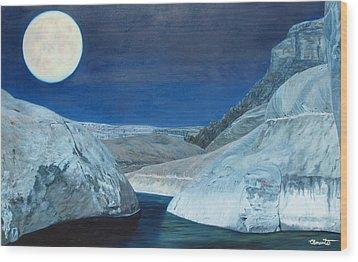 Cold Water Passage Beneath Full Moon Wood Print