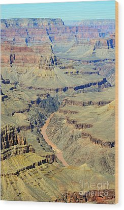 Colorado River Flowing Red Through Inner Gorge Grand Canyon National Park Wood Print by Shawn O'Brien