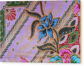 Colorful Batik Cloth Fabric Background  Wood Print by Prakasit Khuansuwan
