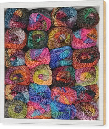 Colorful Knitting Yarn Wood Print by Les Palenik